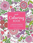 Posh Adult Coloring Book: Cats and Flowers for Fun & Relaxat