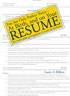 You're Only Perfect Twice: At Birth and on Your Resume~At Birth and on Your Resume